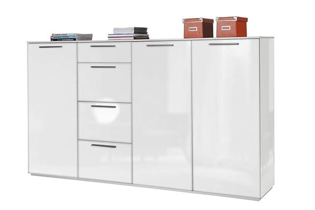 Base soggiorno a tre ante con mensole regolabili e quattro cassetti laccato bianco lucido