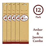 Panchratan Perfumed Charcoal Incense Sticks ( Pack Of 12, 23cms, Amber And Jasmine Fragrance )
