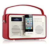 View Quest Retro Style ColourGen DAB / DAB+ FM Radio Speaker with Old 30 Pin Lightning Charging Dock Station for iPhone 1 2 3 3gs 4 4s and Ipod Touch / Classic / Nano - Red ( Wood Construction & Leather Effect Finish )