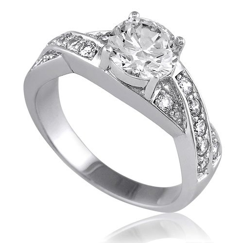 Sterling Silver Round Cubic Zirconia CZ Solitaire Ring w/Side Stones - Women's Engagement Wedding Ring Size 6