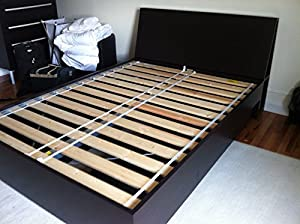 Ikea sultan lade slatted bed base for full for Full size box spring ikea