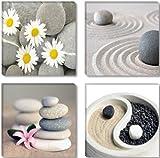 Visario 6607 – Fotografía sobre lienzo (4 piezas, 4 x 30 x 30 cm), diseño de piedras zen