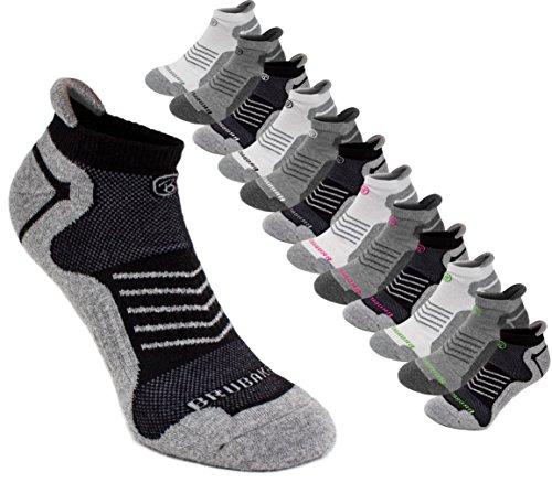 BRUBAKER-Chaussettes-de-sport-Lot-de-6-Paires-Talon-renforc-et-Languette-douce-Idales-pour-Running-Cyclisme-Fitness-Unisexe