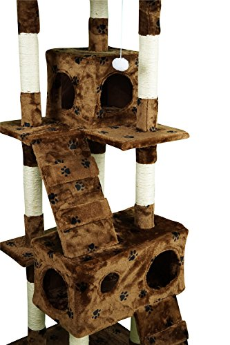 Lethzer Kratzbaum Katzenbaum Katzenkratzbaum mit Höhle Kletterleiter Liegeplattform Spielelemente 175cm hoch in Farbe Braun mit Pfotenabdruck -