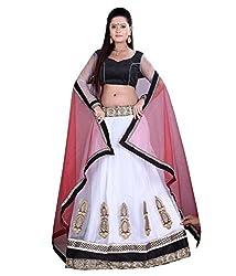 Khazanakart White and Red Net Designer Bollywood Lehenga Choli For Women