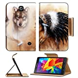 Samsung Galaxy Tab 4 7.0 Inch Flip Pu Leather Wallet Case young indian woman wearing a gorgeous feather headdress with wolves IMAGE 36963542 by MSD Customized Premium