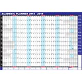 2014-2015 UK unmounted ACADEMIC midyear wall planner - blue colour
