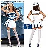 初売り海上自衛隊帽子!!ハロウィンマリンセーラー服白い婦人戦士女海軍水兵スーツセーラー服女水兵さんコスプレ白い婦人戦士帽子+白いTバック+婦人戦士スーツ3点セット商品