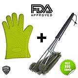 Best BBQ Grill Brush + Heat Resistant Silicone Kitchen Glove Set. 18
