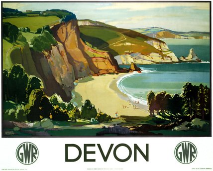 English Railway Travel Poster Art Print, Devon, England by GWR