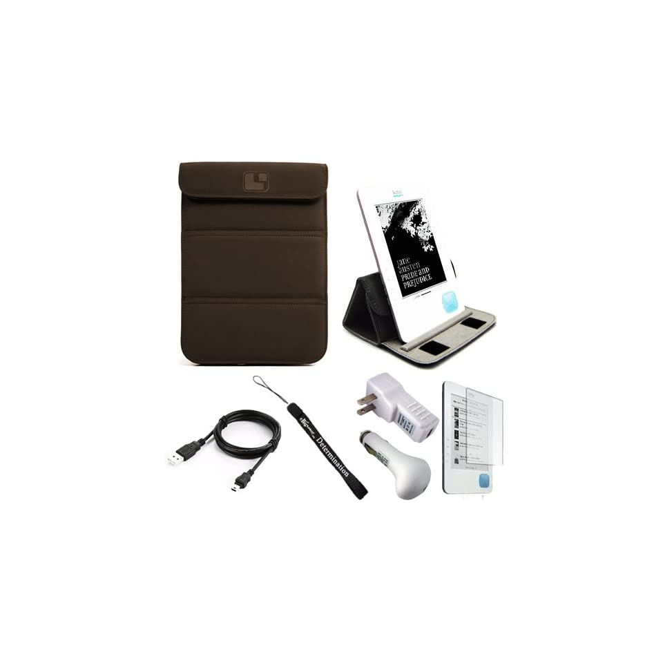 Brown Nubuck Premium Durable Cover Sleeve Carrying Case easily Foldable to Stand for Borders Kobo eBook Reader eReader + Indlues a 4 Inch Determination Hand Strap + Includes a Anti Glare Screen Protector + 3 in 1 Travel Charger Combo Set includes a Home an