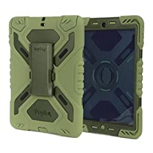 buy Pepkoo Ipad Air2 Silicone Plastic Protective Back Cover Dual Layer Rainproof Sandproof Dust-Proof Kid Case With Built In Stand&Screen Protectore For The Apple Ipad Air2 Ipad 6-Olive