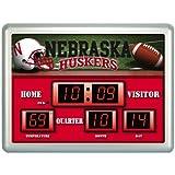 20 NCAA University of Nebraska Huskers Scoreboard Wall Clock with Date and Temperature