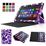Fintie Folio Case for Microsoft Surface RT / Surface 2 10.6 inch Tablet Slim Fit with Stylus Holder (Does Not Fit Windows 8 Pro Version) - Giraffe Purple