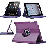 SPRAWL@ 360 Degree Rotating iPad 2 Case (Purple): Folio Convertible Cover Multi-angle Vertical and Horizontal Stand with Smart On/Off for the Apple iPad2