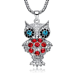 NEEMODA Crystal Owl Charm Pendant Long Necklace for Women White Gold Plated Sweater Chain Fashion Jewelry