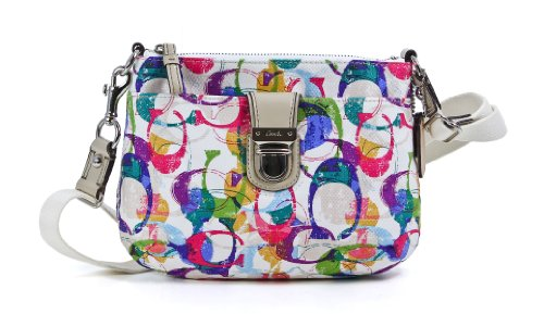 Coach Poppy Stamped C Signature Swingpack Crossbody Bag 49202 Multicolored