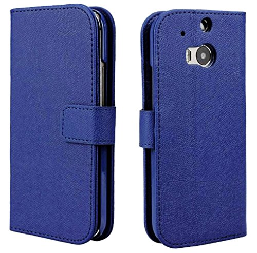 Mylife Deep Royal Blue {Classic Textured Design} Faux Leather (Card, Cash And Id Holder + Magnetic Closing) Slim Wallet For The All-New Htc One M8 Android Smartphone - Aka, 2Nd Gen Htc One (External Textured Synthetic Leather With Magnetic Clip + Internal