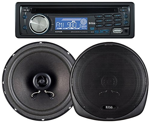 BOSS AUDIO 647CK Package Includes 637UA Single-Din CD AM/FM CD Receiver With USB Port Plus one Pair of 6.5 inch Speakers (2014 Lancer Se Parts compare prices)