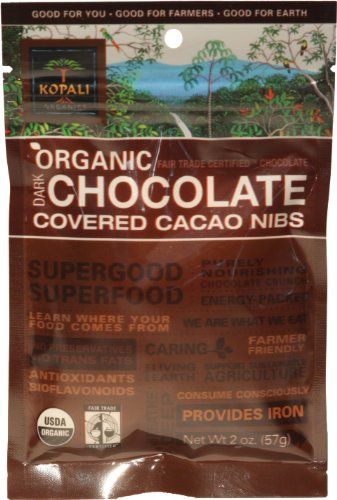 Kopali Organic Chocolate  Cacao Nibs, 2 Ounce Pouch (Pack of 6)