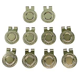 10 Magnetic Hat Clips for Metal Golf Ball Markers (Type #1) by BUSHMANCRAFT