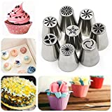 Yakamoz 8 Pieces Russian Icing Piping Nozzles Pastry Tips Cake Sugarcraft Decorating Tool Kit