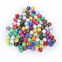 Imported Lot Of 100 Colorful Acrylic Plastic Beads With Rhinestone Sparkling Dots 8mm