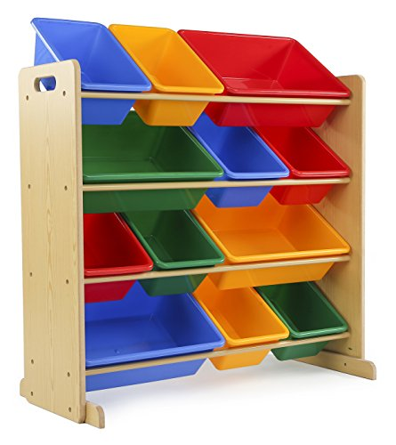 Tot Tutors Kids' Toy Storage Organizer with 12 Plastic Bins, Natural/Primary (Primary Collection) (Toy Storage Containers compare prices)