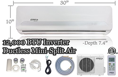 12,000 BTU Innova Ductless Mini-split Air Conditioner - Inverter - Cooling & Heating - Dehumidifier - 115v/60hz - Ultra Quiet - 16 Feet Line Set - Pre Charged with Refrigerant + All Installation Accessories Included