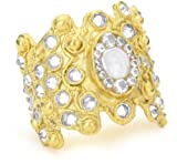 Devon Leigh Coin Pearl And Clear Cubic Zirconia 18k Gold Dipped Cuff