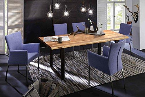 SAM-Stilvoller-Esszimmertisch-Quarto-200-x-100-cm-aus-Akazie-Holz-Tisch-mit-schwarz-lackierten-Beinen-aus-Roheisen-naturbelassene-Optik-mit-einer-Baumkanten-Tischplatte