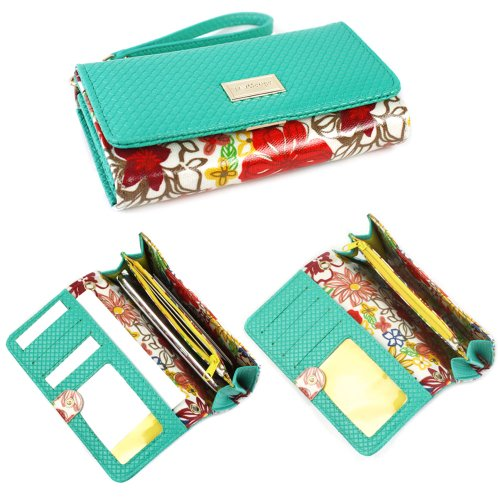 JAVOedge Floral Smartphone Clutch Wallet Case with Wristlet (Turquoise) for Apple iPhone, Samsung, Nexus, Amazon Fire