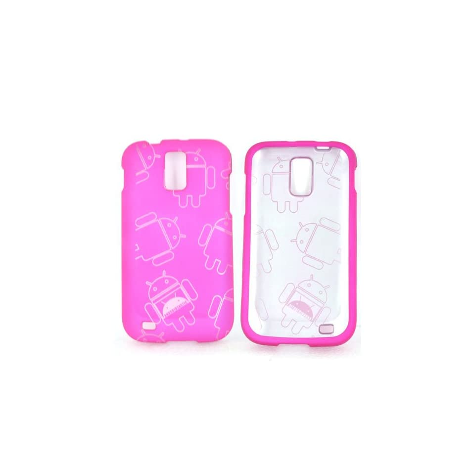 For T Mobile Samsung Galaxy S2 Rose Pink Rubberized Androitastic Android Design Hard Plastic Shell Case Snap On Cover