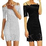 Allegra K Women Off Shoulder Lace Sheath Mini Summer Dresses