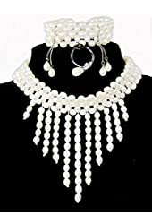 """5.0~6.0mm layered Freshwater Cultured White Pearl Necklace (14"""" length)/Bracelet (6.5"""" length)/Ring/Ear Ring Set"""