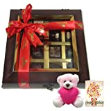 Decadent Flavors In A Beautiful Wooden Box With Birthday Card And Teddy - Chocholik Belgium Chocolates