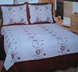 3pc 100% Cotton Fully Quilted Embroidery Bedspread Cover Set Taupe / Brown, ....