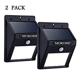 MOKOQI® 8 LED Outdoor Solar Powerd,Wireless Waterproof Security Motion Sensor Light for Patio, Deck, Yard, Garden,Driveway,Outside Wall with 2 Modes Motion Activated Auto On/Off (2 PACK)
