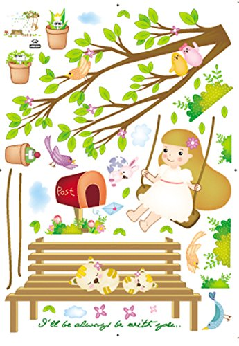 Damara Childlike Swing Girl Spring Wall Stickers Children Home Decor