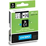 DYMO Standard D1 Self-Adhesive Polyester Tape for Label Makers, 3/8-inch, Black print on White, 23-foot Cartridge (41913)
