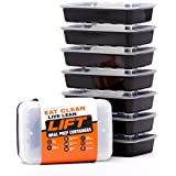 LIFT 7-Pack Certified BPA-free Reusable, Washable, Microwavable Meal Prep Containers with Lids and Meal Prepping Ebook, 28-Ounce, Black