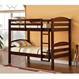 WE Furniture Twin / Twin Solid Wood Bunk Bed - Espresso