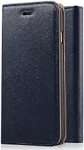 [Genuine Leather] [Apple New iPhone 6 (4.7) Wallet Case]- iXCC ® [Stand Feature] [Classic Vintage Elegant Look] Premium Ultra Slim with Stand Flip Cover , Protective Soft Geniune Leather [Book Style] Folio Wallet Case - for Apple iPhone 6 4.7 Inch Late 2014 Model [Navy]