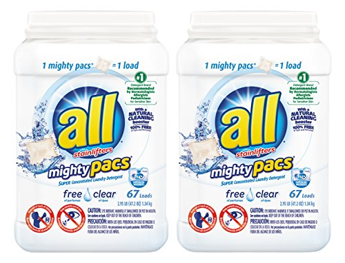 all Mighty Pacs Free Clear, Super Concentrated Laundry Detergent, 67