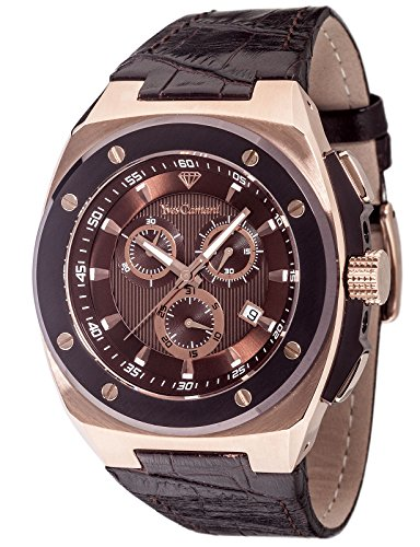 Yves Camani Quentin Men's Quartz Watch with Brown Dial Analogue Display and Black Leather Bracelet Yc1072-A