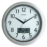 DIMPLE (ディンプル)  連続秒針 温度・湿度表示 アナログクォーツ掛け時計 DUP247W