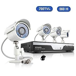 Zmodo CCTV Überwachungskamera System Video Überwachungsset 4CH 960H DVR mit 4x700TVL Höhe Auflösung Tag/Nacht Wetterfeste IR-Cut eingebaut Sicherheit Kameras HDMI Anschluss Ohne Festplatte