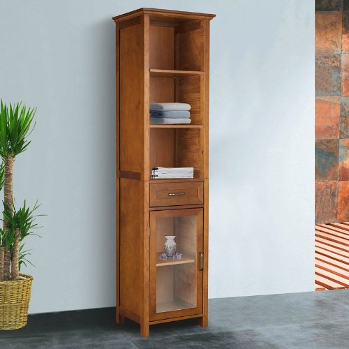 The Oak-finish Linen Tower Bathroom Storage Cabinet with Doors! Your Clothing From Theses Wood Storage Cabinets Can Be Organized! These Corner Storage Cabinets Can Be Spacious to Make Room in Your Bathroom or Bedroom in Your Home! On Sale! Satisfied! (Linen Cabinet Glass compare prices)