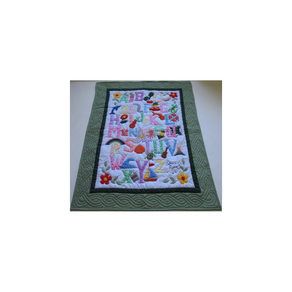 Hawaiian Style Quilt ABC Baby Crib Blanket Wall Hanging, Hand Quilted/Hand appliqued and Machine Embroidered