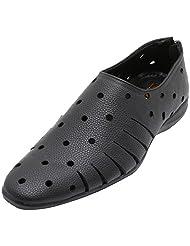 Gujarat Charmudyog Bhandar Men's Black Leather Sandal 6 UK